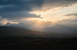 Sunburst above the Sarek mountains