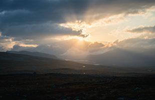 Sunburst above the Sarek mountains