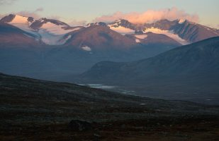 Morning light on the peaks of the Sarek mountains