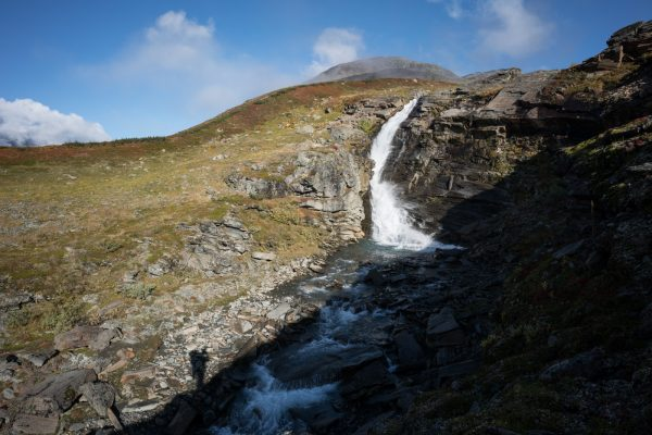 Waterfall of Tjåggnårisjåhkå