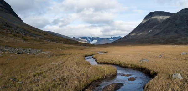 View back towards the peaks of the Sarek massif