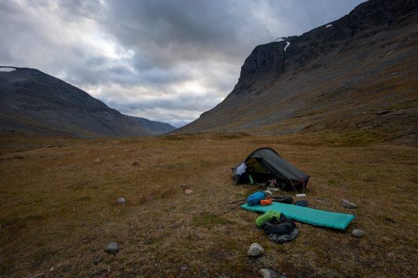 My campsite in Álggavágge