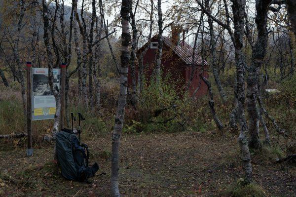 Skårki hut with information board (image taken the next day)