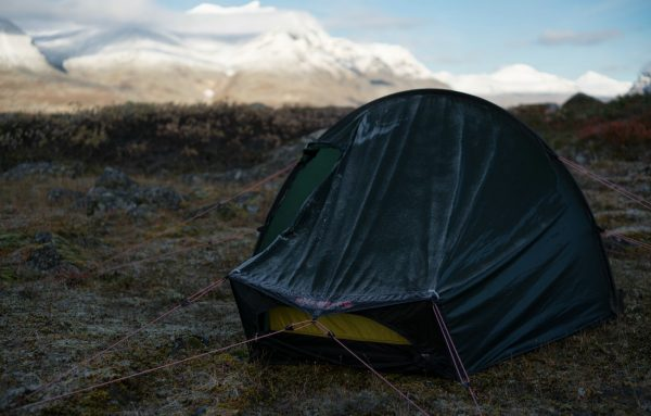 My tent with mountain backdrop