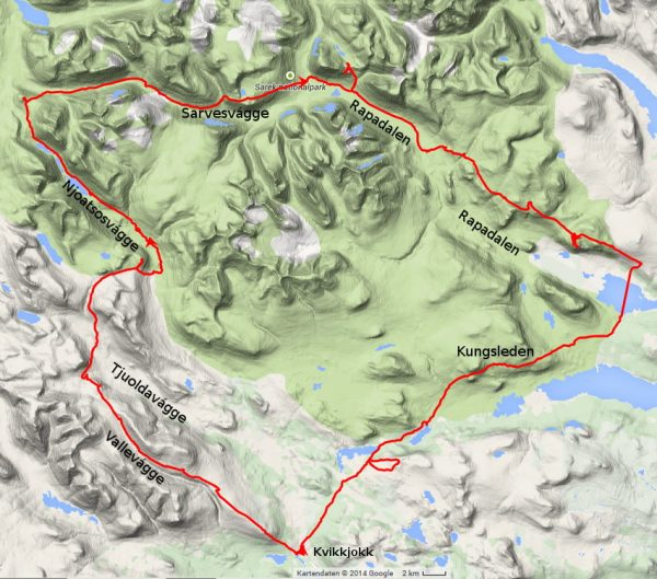 My Sarek hiking route 2014