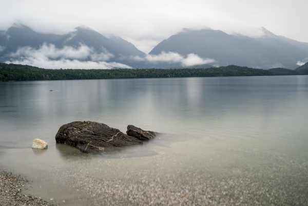 Scene at the beach of Lake Manapouri