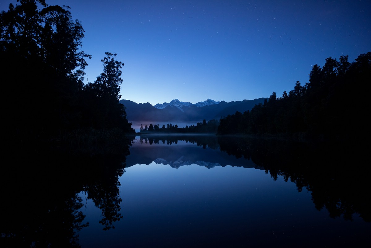 Lake Matheson at twilight
