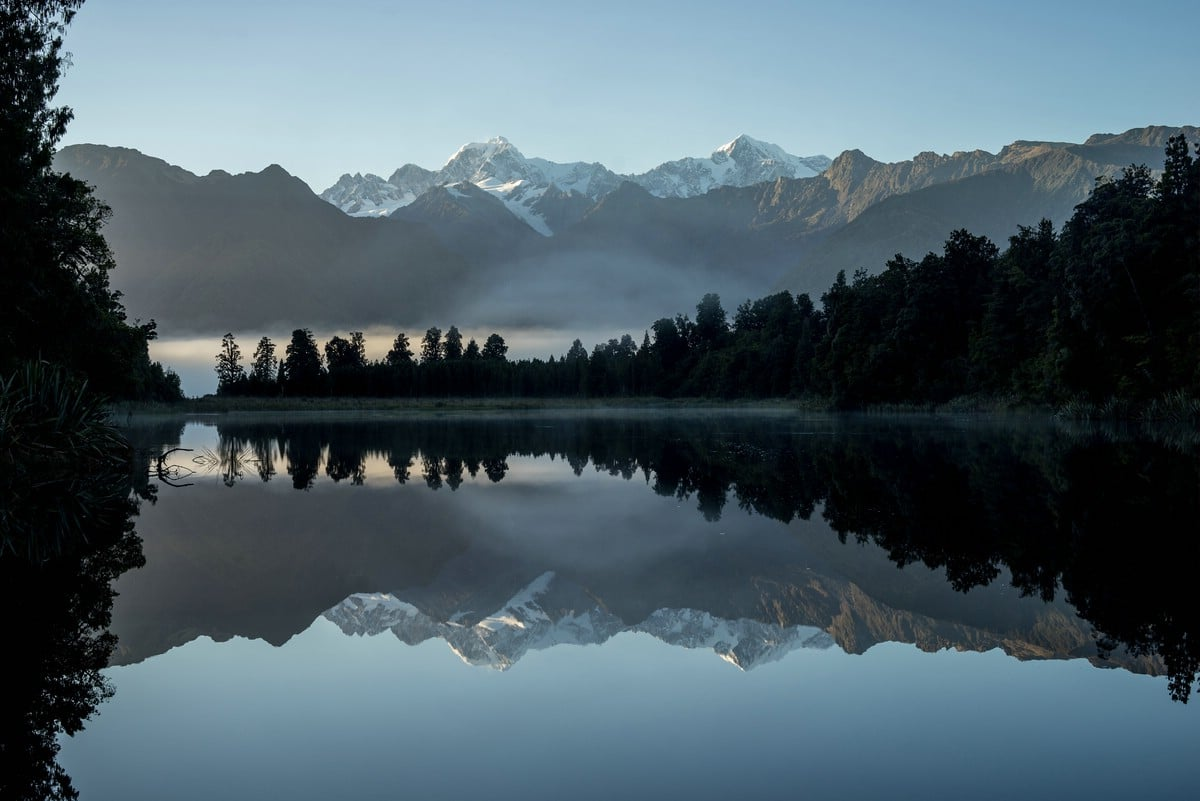 Mount Cook is mirrored in Lake Matheson