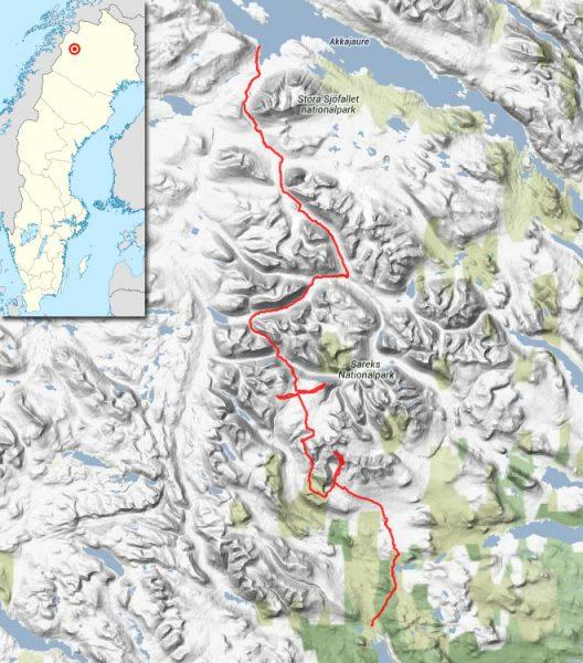 My hiking route through Sarek